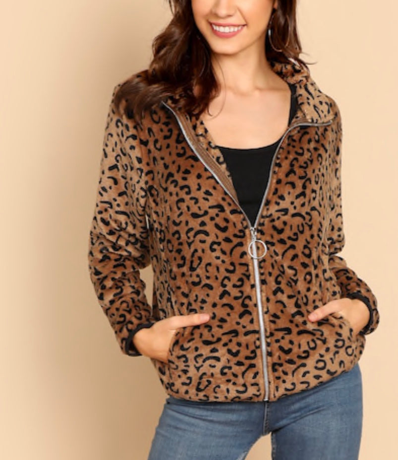 Zip Up Leopard Print Coat