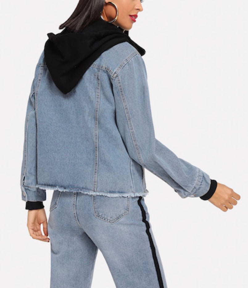 Raw Hem Hooded Denim Jacket