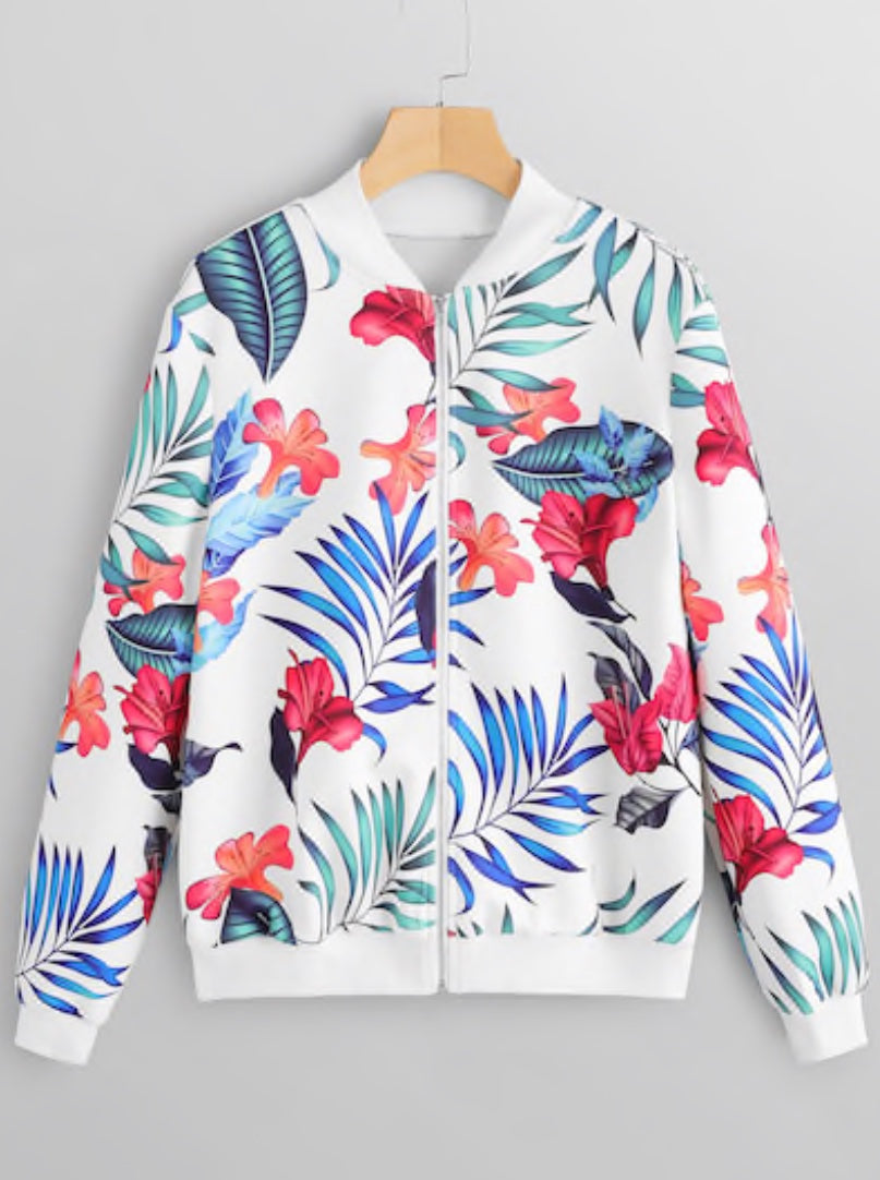 Zip Front Tropical Bomber Jacket