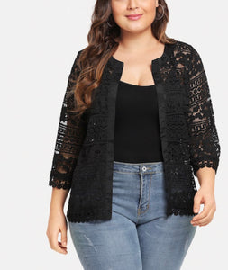 Plus Size Lace Floral Open Cardigan/Coat
