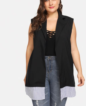 Plus Size Open Vest