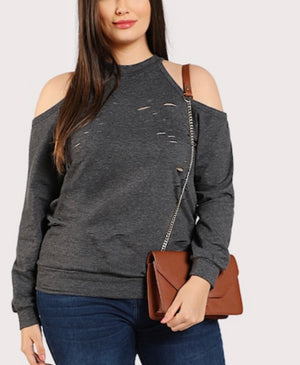 Plus Sized Ripped Cold Shoulder Sweatshirt