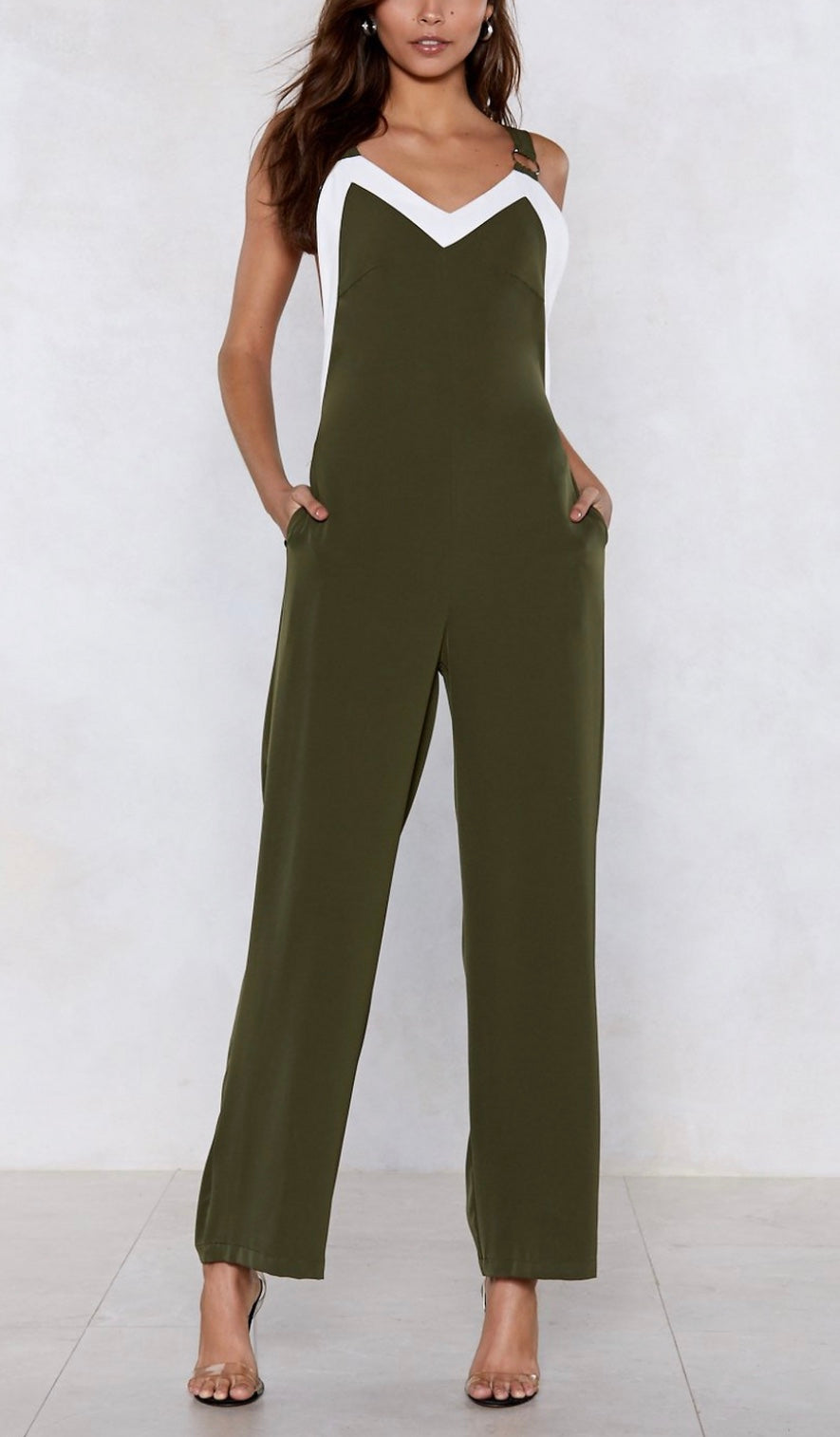 Contrast Open Back Jumpsuit