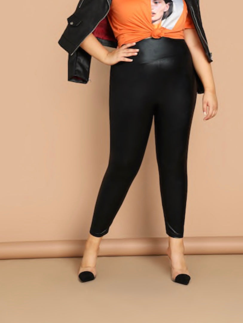 Plus Size Wide Waistband Faux Leather Legging
