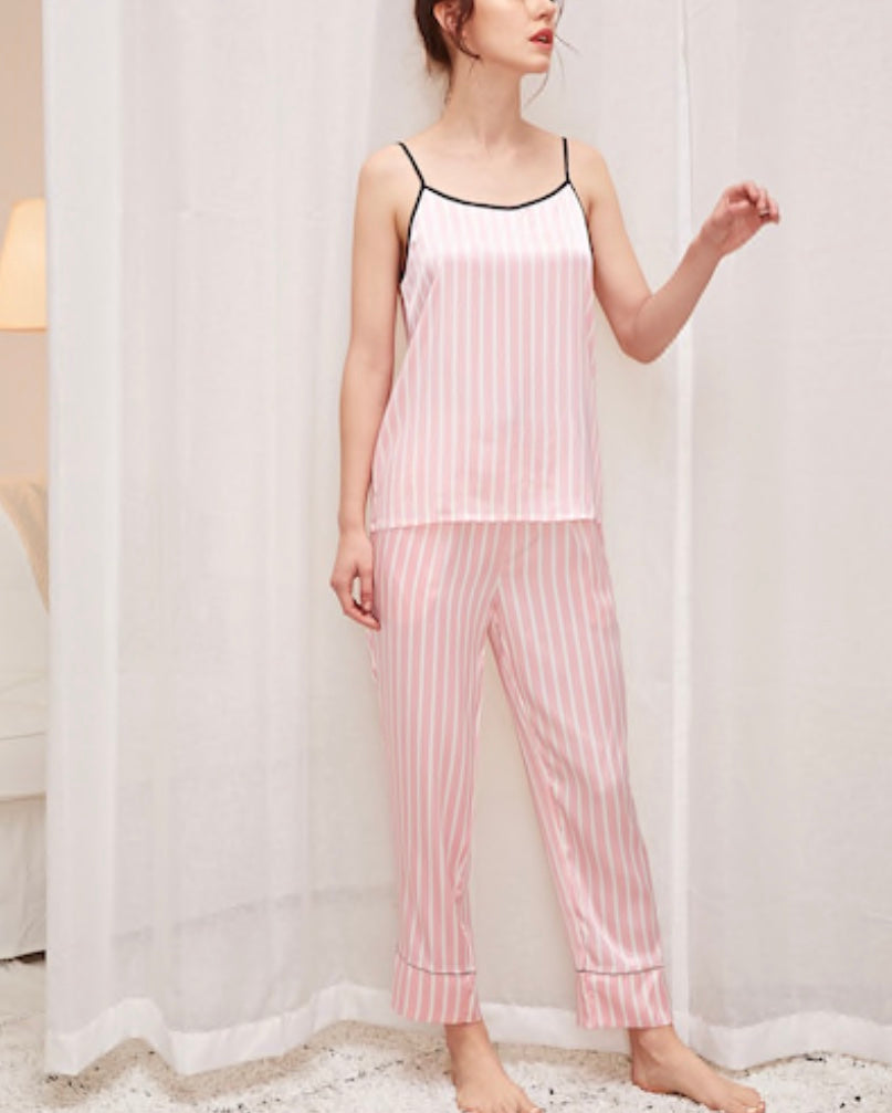 Striped Satin Cami Pajama Set