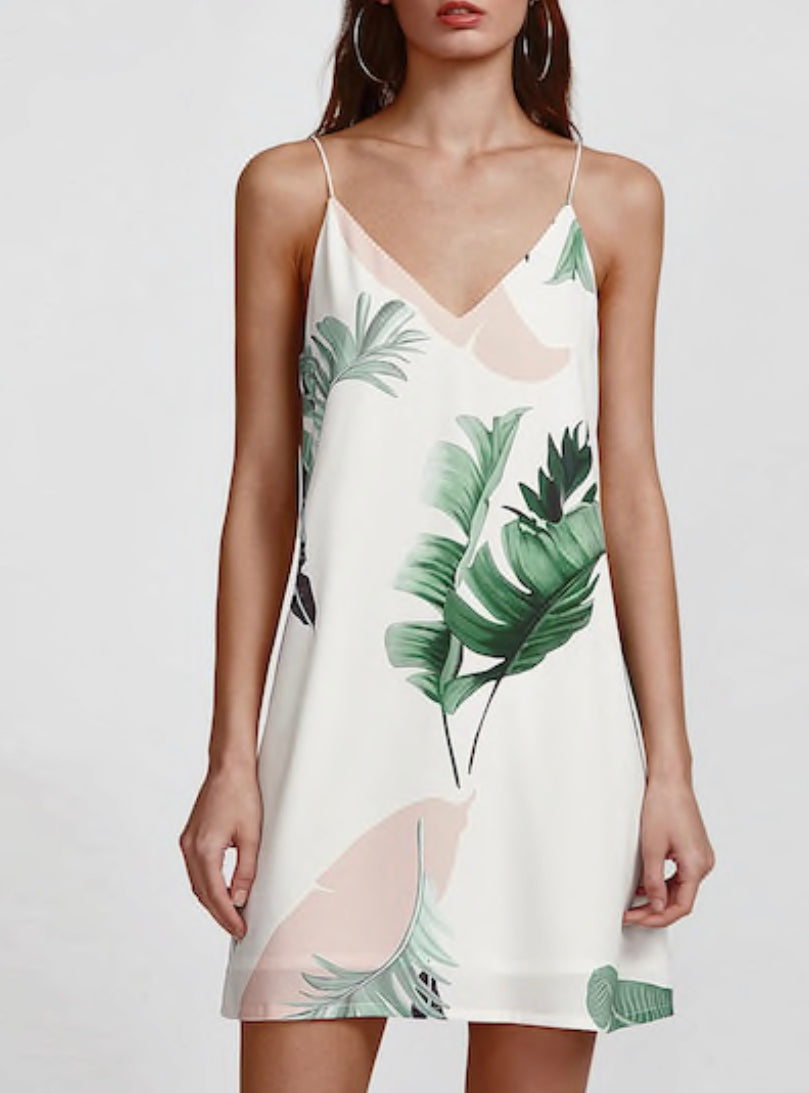 Palm Leaf Print Shift Dress