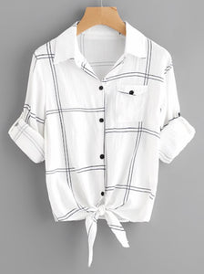 Rolled Sleeve Checked Knot Front Blouse
