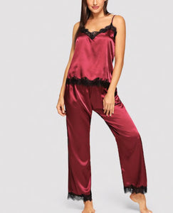 Eyelash Lace Satin Cami Pajama Set