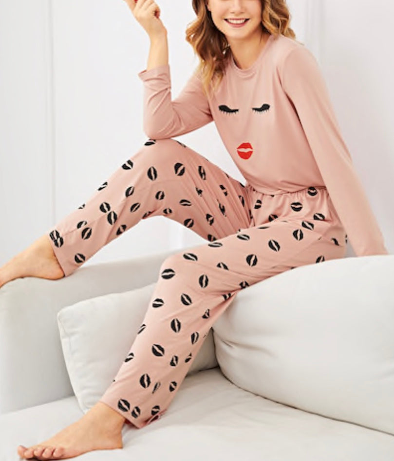 Lip and Eyelash Print Pajama Set