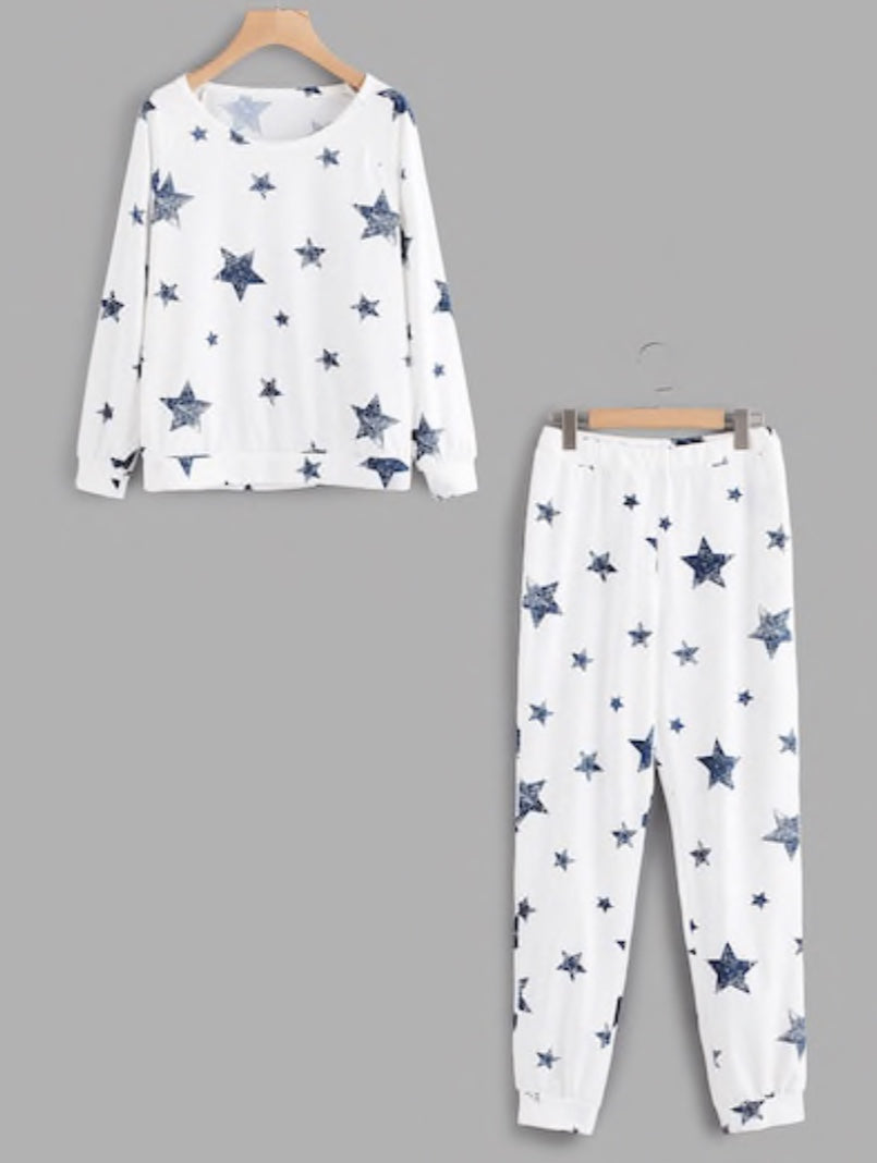 Plus Size Star Print Pullover and Pant Pajama Set