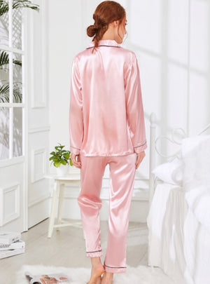 Contrast Binding Satin Pajama Set with Wallet