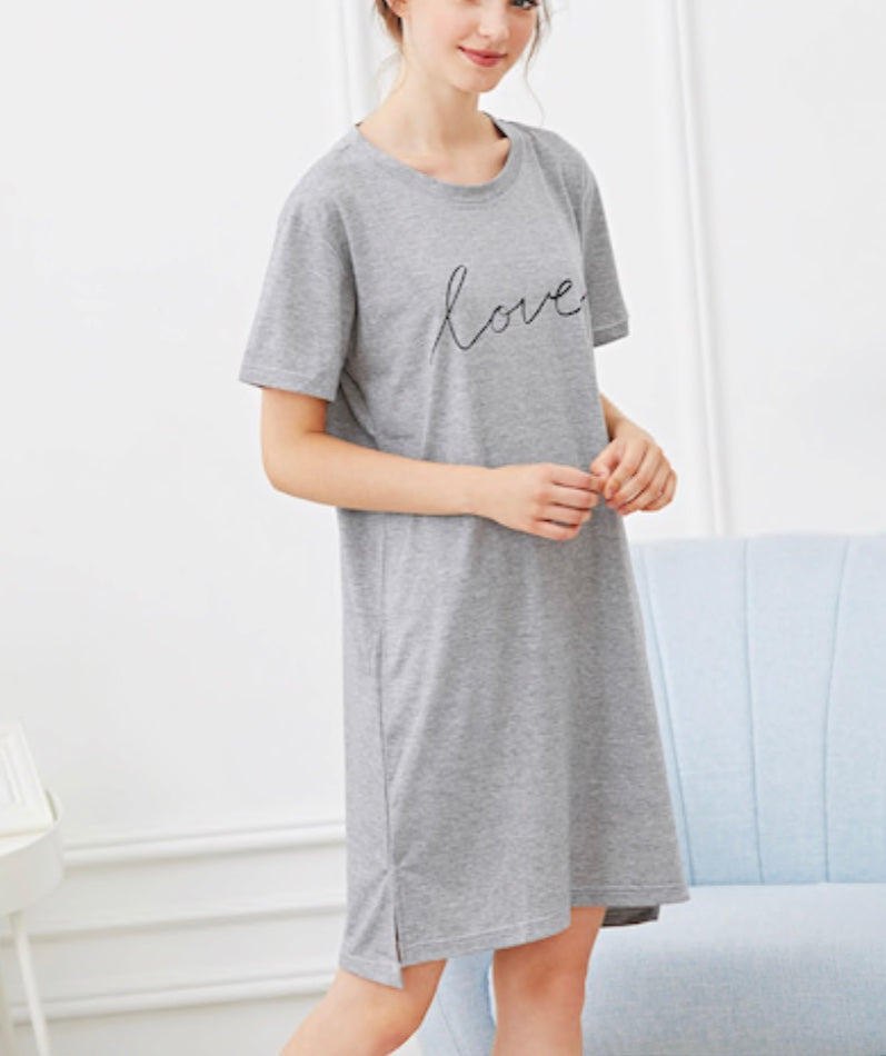 "Grey Heart and ""Love"" Printed Night Dress"
