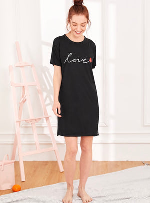 "Black Heart and ""Love"" Printed Night Dress"