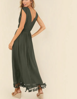Double V-Neck Tassel Hem Dress