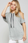 Cold Shoulder Short Sleeve Hoodie HEATHER GREY