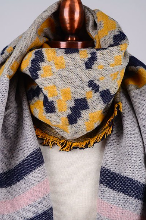 2 Tone Scarf YELLOW/PINK