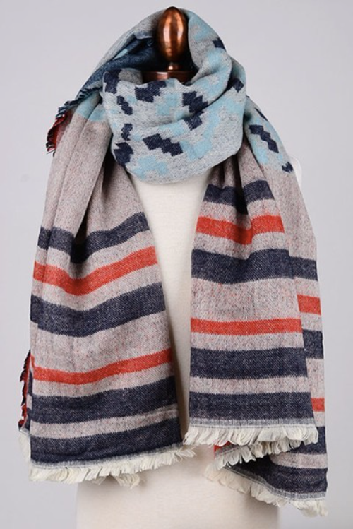2 tone scarf SKYBLUE/ORANGE
