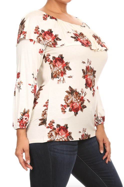Plus Size Floral Printed Ruffle Neck Top