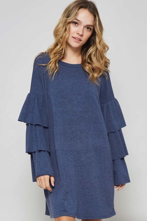 Tier Ruffle Sleeve HEATHER GREY Dress (Color Options Available)