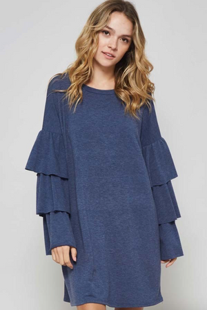 Tier Ruffle Sleeve NAVY Dress (Color Options Available)
