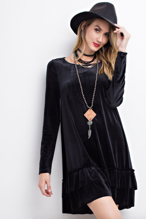 Long Sleeve Velvet Dress BLACK