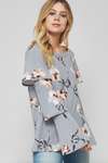 Floral Print Tiered Ruffled Wide Sleeve Top