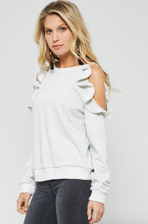 Ruffle Trim Cold Shoulder Sweater Heather Grey (Color Options Available)