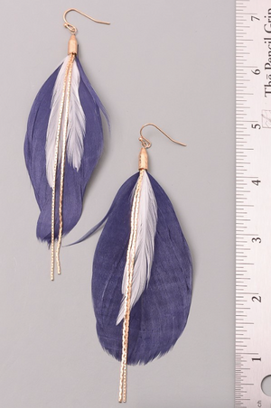 Feather and Chain PLUM Hanging Earrings (Color Options Available)