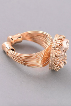 Wire and Stone Ring AMBER