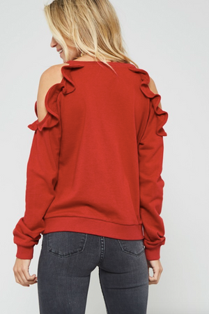 Ruffle Trim Cold Shoulder Sweater RUST (Color Options Available)