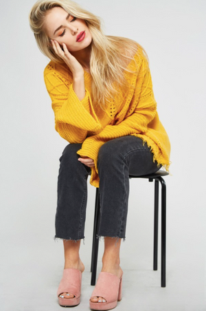 Fringe Bottom Cable Knit Sweater MUSTARD