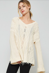 Fringe Bottom Cable Knit Sweater IVORY (Color Options Available)