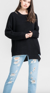 Cut Out Drama Sweater BLACK