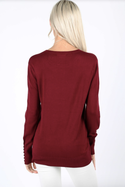 Button Sleeve Detail Sweater BURGUNDY