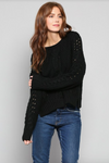 Cable Knit Pullover BLACK