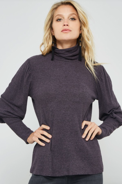 Puff Sleeve Fitted Body Top DARK PURPLE