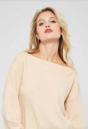Boat Neck Cozy Sweater NATURAL