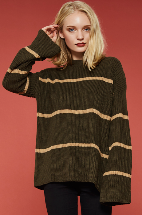 Cozy Up Sweater Stripped TAN