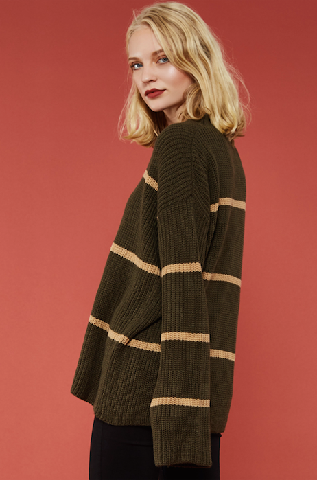 Cozy Up Sweater Stripped OLIVE