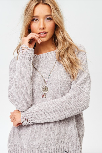 Distressed Ultra Soft GREY Sweater