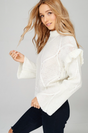 Snow White Ruffle Sleeve WHITE Sweater