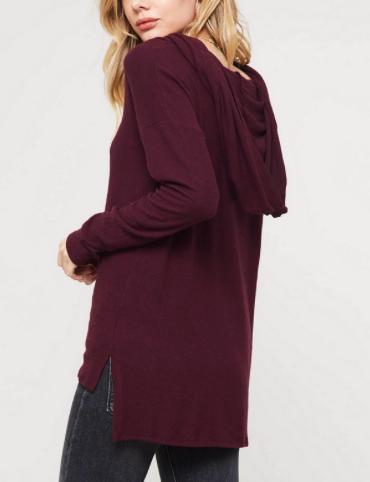 Cowl Neck Hooded Long Sleeve