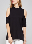 Cold Shoulder, High Neck Top