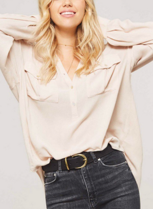 Button Down Loose Blouse OATMEAL
