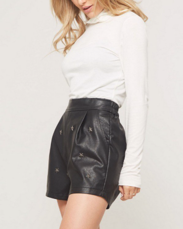 Faux Leather Star Studded Short