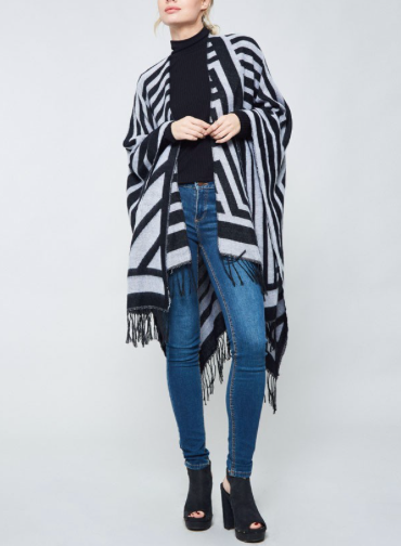 Fringed Detail Open Poncho