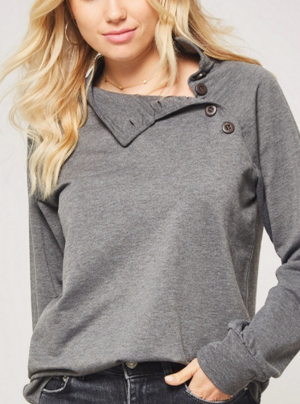 Button Down Closure Neck Top CHARCOAL