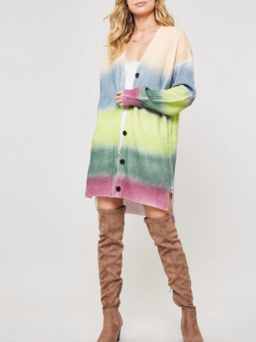 Rainbow Ombre Thermal Button Cardigan
