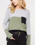 Color Block Pocket Long Sleeve