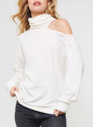 One Cold Shoulder Folded Turtle Neck Top